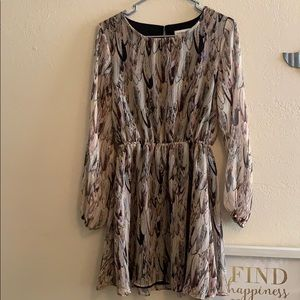 Pretty feather print sheer dress